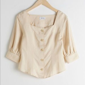 & Other Stories Linen Blend Square Neck Top 8